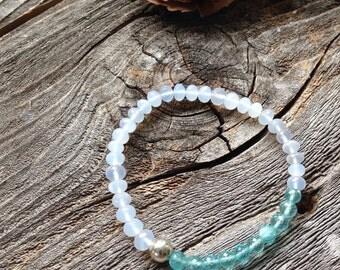 Chalcedony Apatite Blue Beaded Bracelet Friendship AAA Faceted Gemstone Bracelet Boho Bracelet