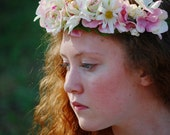 Flower crown, pink roses, daisies, hydrangeas, grapevine wreath