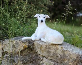 Needle felted 100% wool doll Whippet / Greyhound  dog