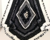 Black, White and Grey Soft Textured Crochet Afghan/Lap Rug/Throw