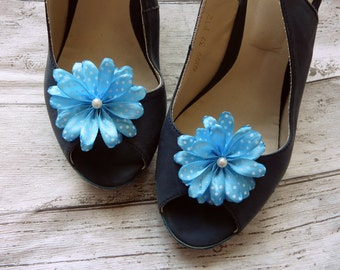 Shoe Decorations, Bridal Shoe Flowers, Blue Bridal Shoe Clips, Blue Bridesmaid Shoe, Baby Blue Shoe Clips,  Blue Polka Dot Shoe Clips