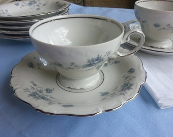Set of 2 Johann Haviland Blue Garland Footed Tea Cup and Saucer Sets, Bavaria, Germany