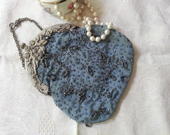 Antique Silk Beaded Ladie's Purse with Metal Art Nouveau Frame, French Blue Antique