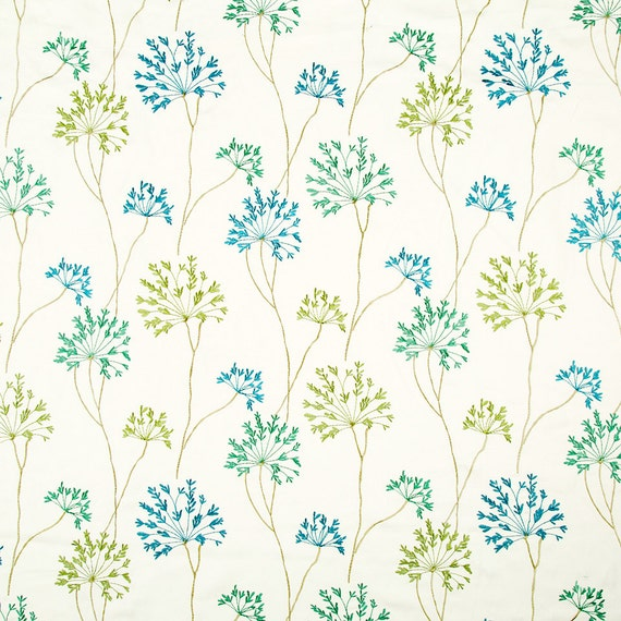 Blue floral linen upholstery fabric embroidered