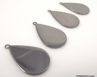 Gunmetal Teardrop Charms, Teardrop Tag, Blank Discs, Stamping Blanks, 24 x 16mm