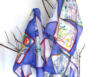 your child's drawing on silk scarf handpainted. Silk shawl. perfect gift for mothers, teachers... . 180x45cm.