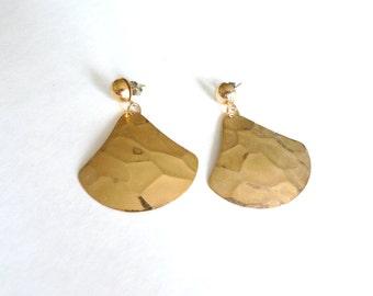 Gold Metal Hammered Vintage Earrings