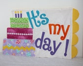 It's My Day Birthday Placemat, Happy Birthday Placemat, Cake Placemat, Quilted Placemat, Birthday Gift Idea, Gifts for Boys, Gifts for Girls