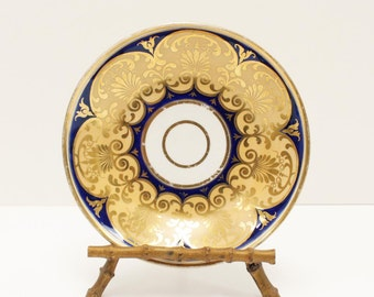 Gold and Cobalt Blue Decorative Plate with Classic Greek Shell Motif