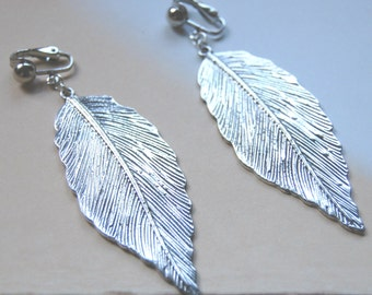 Simplicity - LEAVES - Boho Antique Silver Tibet Silver Textured Chandelier Long Dangle Metal Clip On Earrings