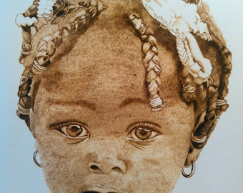 Little Kisha, burning on paper, wood burn, pyrography, art,