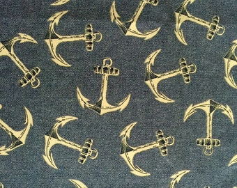 Cotton Fabric -  Blue Anchor Nautical Fabric Fabric by the Yard - Quilt Fabric - Apparel Fabric - Home Decor Fabric - Fat Quarters
