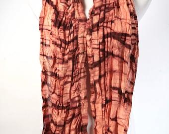 Peach Silk Scarf Shibori Hand Dyed Scarf in Peach and Maroon Arashi