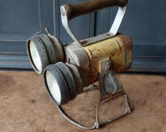 Vintage Railroad Double Lantern, Justrite, Brakeman's, Model 2121, Primitive, Industrial, Steampunk