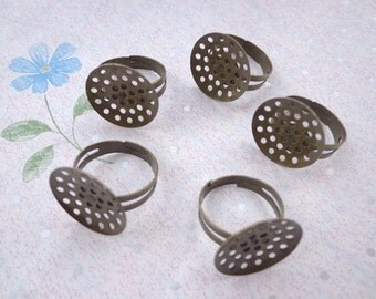 20 pcs Antique bronze  Ring Base Adjustable with 18 mm Round Pad