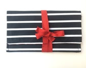 Black and white striped clutch, red ribbon, elegant clutch bag, striped bag, bow clutch, cotton fabric