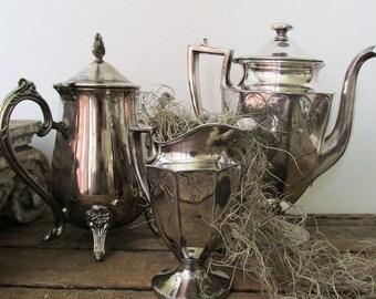 Silverplate coffee or teapot grouping antique farmhouse centerpiece trio collection French Nordic silver metal home decor anita spero design