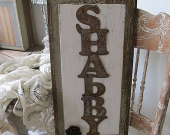 Salvaged wood shabby sign rustic farmhouse rusty letters weathered wooden panel white distressed large heavy wall decor anita spero design