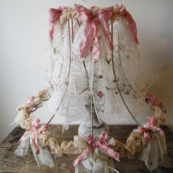 Ornate Lampshade Shabby Cottage Chic Large Lamp Shade