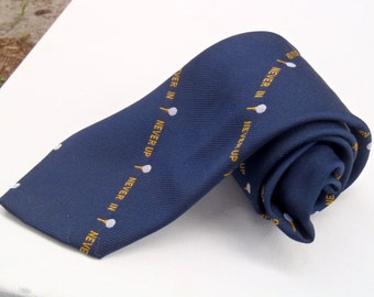 Vintage 1980s Navy Blue Never Up Never In Golf Club Pin Stripe Novelty Tie