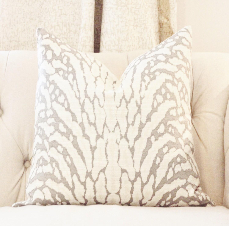 Animal Light Pillows : Animal Print Pillow Gray Zebra Pillow Cover Light Gray