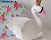 White swan with a golden crown - freestanding decor - LARGE 20 cm
