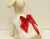 White Dog Dress, Red Bow, Dog ring bearer, Red Pet Wedding accessory, Christmas Gift, Love, Valentine day gift, Proposal idea, Chic