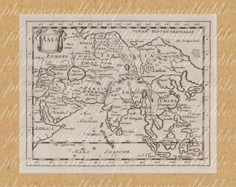 Map Of Asia From The 1600s 333 Japan India China India Persia Russia Arabia Capsium Ancient Old World Digital Image Download