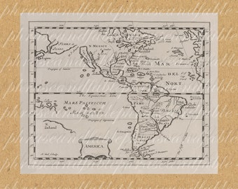 Map Of Americas From The 1600s 342 North America South America New World Map Continent Ocean Home Decor Coast Cartography Adventure Travel