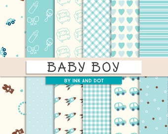 Baby Boy Digital Paper - Scrapbooking Papers, Rockets, Cars, Patterned Paper, Blue Baby Shower, Gingham, Stars, Hearts - Instant Download