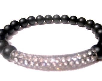 Onyx Crystal Bracelet - Bead Bracelet - Mens Jewelry - Men's Bracelet