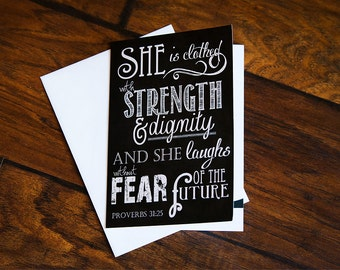 Scripture Art - 5x7 Folded Greeting Card on linen paper (with envelope) Proverbs 31:25