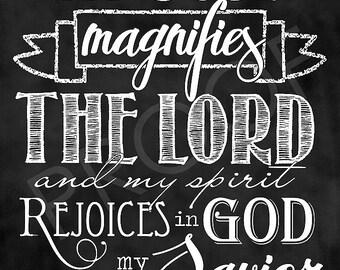 Scripture Art - Luke 1:46-47 ~ Chalkboard Style