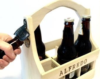 Personalized Beer Caddy Carrier With Bottle Opener Groomsmen Gift Beer Crate Tailgating Beer Holder 6 Pack Beer Carrier READY TO SHIP