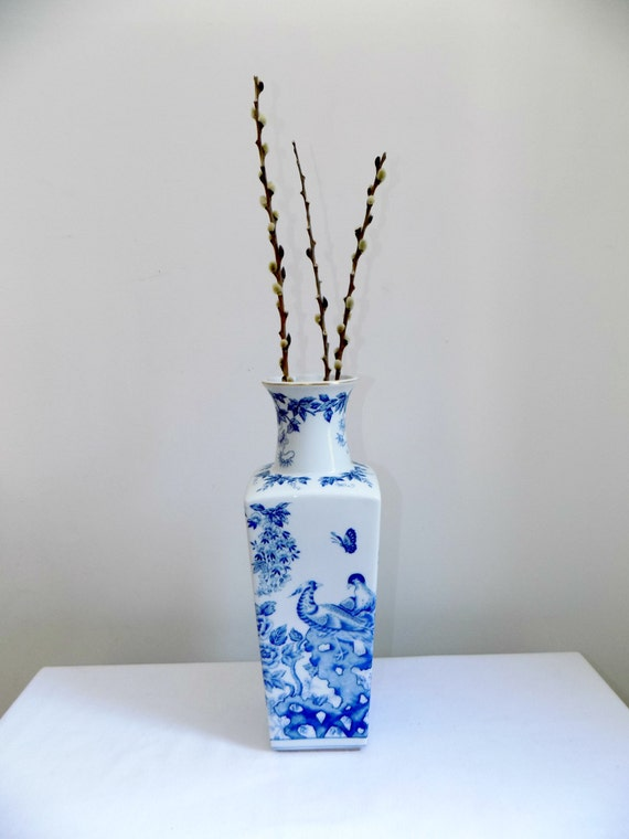 Blue And White Square Shaped Porcelain Chinese Vase Decorated