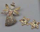Angel Pin, Star Earrings, Angel Necklace, Gold Star Earrings, Post Earrings, Earrings with Posts, Mixed Metal Angel by RiverPath Studio