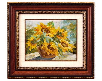 Sunflowers Original Painting Oil on Canvas Framed Wall Art Hand Painted Floral Decor