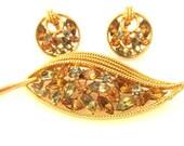 Gold leaf rhinestone Brooch and earrings set