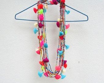 Festival Tassel Necklace Wholesale Seed Bead Necklace Long Tassel Necklace Tiny Bead Necklace Layered Necklace Tiny Bead Necklace