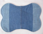 Dog Feeding Bowl Placemat Recycled Denim small