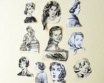 Vintage girls / people faces paper cut outs, die cut style -  cardmaking, journaling,  scrapbooking,  smash books, embellishment