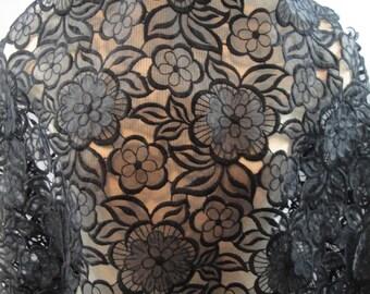 Black Organza Embroidery Lace, Black Lace, Floral Lace  (C1)