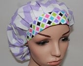Bouffant Women's Scrub Hat.Lilac/Cream Chevron w/ multi colored band - 32102-1