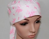 Surgical Scrub Hat/ Mini Chemo style hat with band-Breast Cancer/.Pink Ribbons 11150