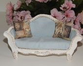Sofa shabby chic blue miniature dollhouse