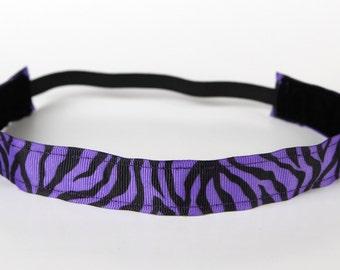 "Purple Zebra Nonslip Headband 1"", Workout, Fitness, Running, Dance, Team, Cheerleading, Noslip Headband, Spinning, Animal Print, Spinning"