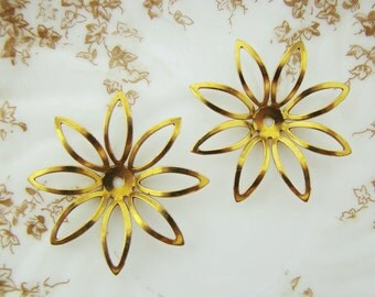 Large Vintage Metal Brass Flower Stamping Embellishment Dapped Center Bead 44mm - 2