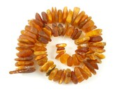Natural Baltic Amber beads LOT - 74pcs freeform raw bead - cognac #1