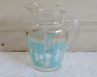 Glass Mid Century Pitcher with Teal and Gold, Retro Teal Glass Pitcher