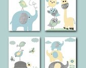Elephant Wall Art Giraffe Wall Art Gray Blue Yellow Mint Canvas Baby Nursery Prints Kids Art for Children Baby Room Decor set of 4 /